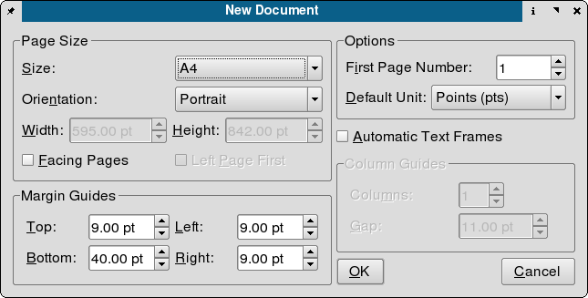 New document dialog in Scribus 1.2.2