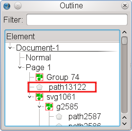 """The item ""path13122"" has been detached from the group ""svg1061"", an imported SVG file."""