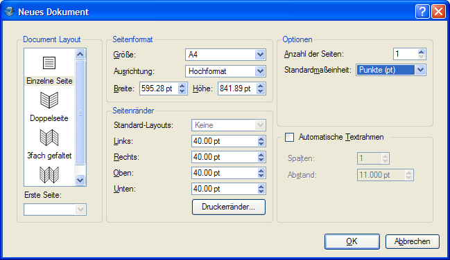 Dialog Neues Dokument in Scribus 1.3.3.*